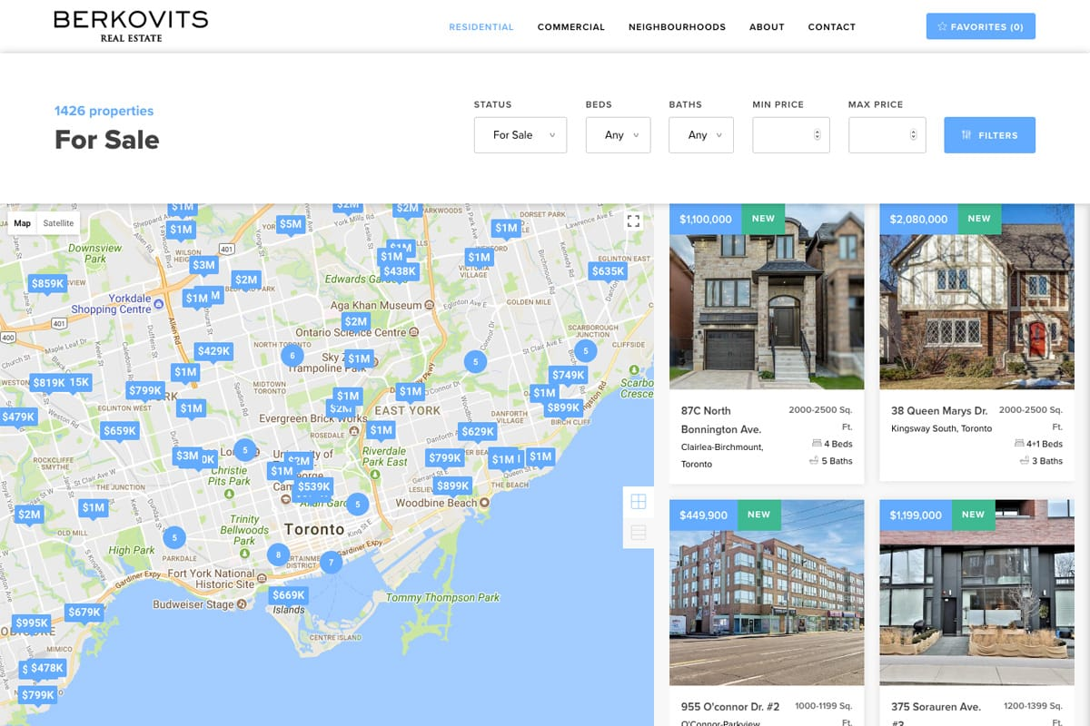 Lou Berkovits Real Estate filter properties with map desktop site