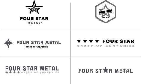 Six concept logos for Four Star Metal